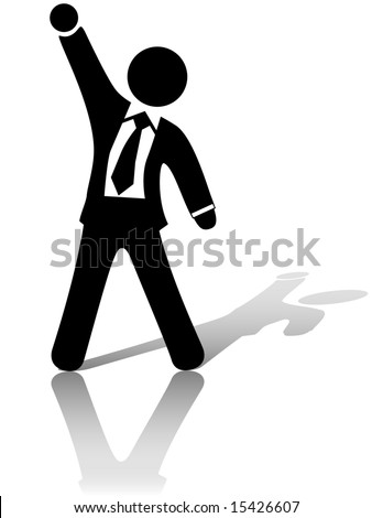 A businessman with arm and fist raised up in the air to celebrate a business success or other achievement. - stock vector