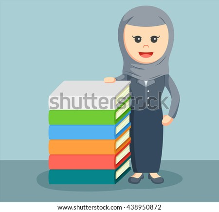 a businesswoman arab stand beside stack of book - stock vector