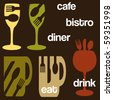 A cafe or bistro concept graphics set - stock vector