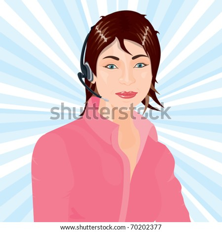 A call center operator ready to assist you. - stock vector