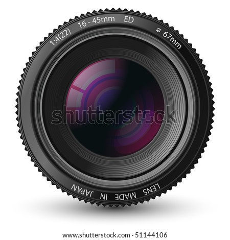 A camera lens vector illustration with realistic reflections and shadow - stock vector