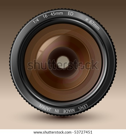 A camera lens vector illustration with realistic reflections on brown background - stock vector