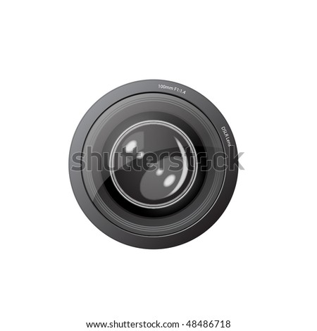 A camera lens vector illustration with realistic reflections saved in EPS 10 format - stock vector