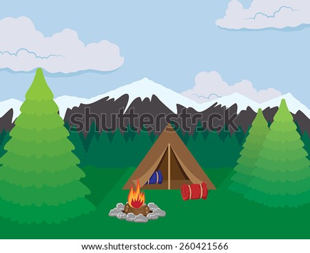 A camping scene in a mountain landscape featuring a tent, campfire, sleeping bags, and pine trees.