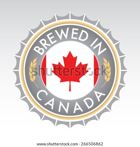 A Canadian beer cap crest in vector format. The bottle cap features the Canadian flag flanked by two golden wheat icons. - stock vector