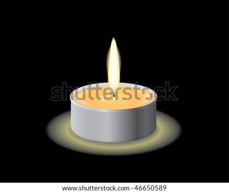 A candle burning in the dark - stock vector