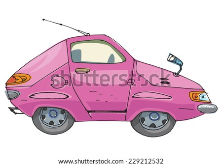 A car drawn in child style.