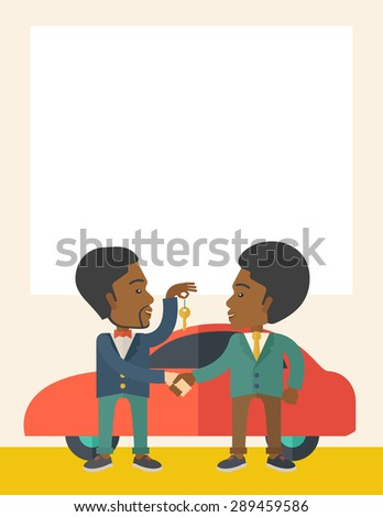 A Car sale handed to other man. Selling concept. A Contemporary style with pastel palette, soft beige tinted background. Vector flat design illustration. Vertical layout with text space on top part.
