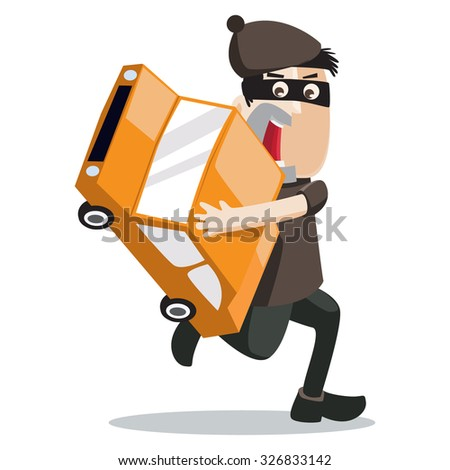 a car thief around you - stock vector