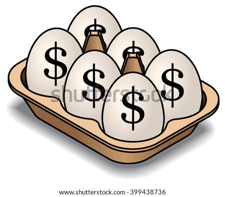 A carton of 6 white eggs. Marked with dollar signs.  - stock vector
