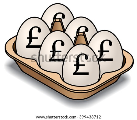 A carton of 6 white eggs. Marked with pound sterling signs. - stock vector