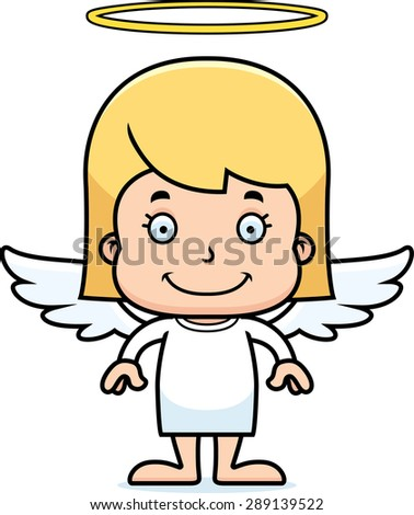 A cartoon angel girl smiling. - stock vector