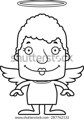 A cartoon angel woman smiling.