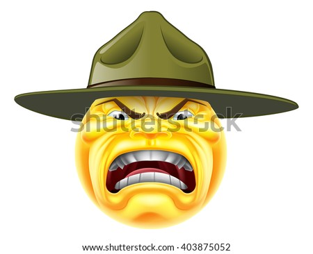 A cartoon angry emoji emoticon army boot camp drill sergeant shouting - stock vector