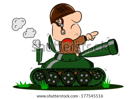 A cartoon army soldier in the turret of a tank - stock vector