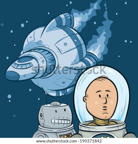 A cartoon astronaut, his robot sidekick and their spaceship in outer space. - stock vector