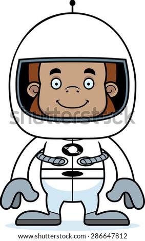 A cartoon astronaut sasquatch smiling. - stock vector