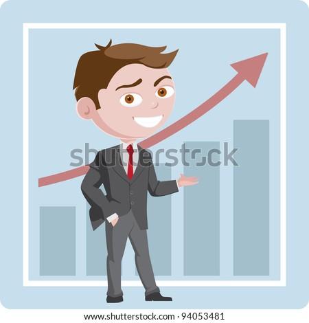 A cartoon business man presenting success - stock vector