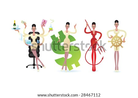 A cartoon business Woman in a variety of poses with some attribute of different work - stock vector