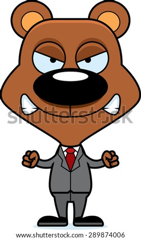 A cartoon businessperson bear looking angry. - stock vector