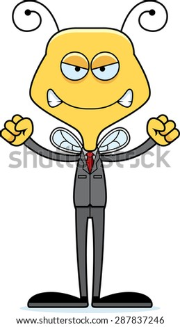 A cartoon businessperson bee looking angry. - stock vector