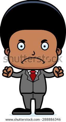 A cartoon businessperson boy looking angry. - stock vector