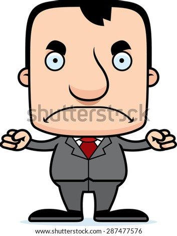A cartoon businessperson man looking angry. - stock vector