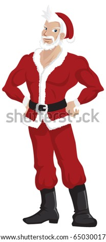 A cartoon character of a handsome Santa Claus. - stock vector