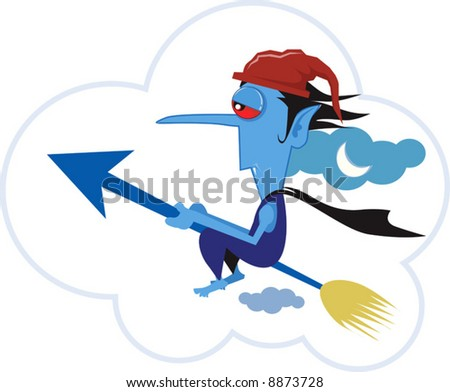 A cartoon character riding in his jet spear
