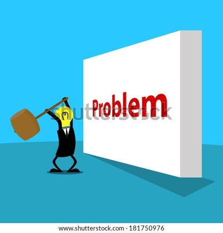 a cartoon character try to break the wall of problem with a hammer - stock vector