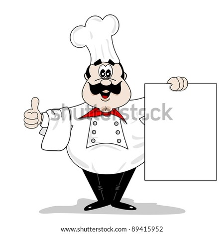 A cartoon chef cook holding a blank recipe menu board with copy space - stock vector