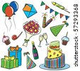 A cartoon color doodle with a birthday and party themes. - stock vector