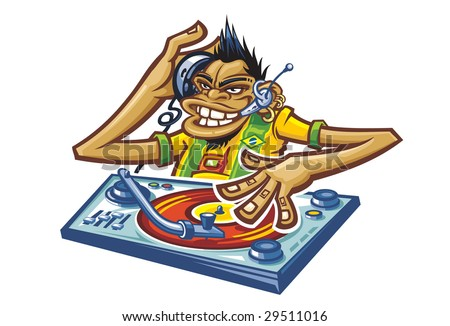 A cartoon comic Dj monkey  is  playing a record  dressed in a Brazilian shirt - stock vector