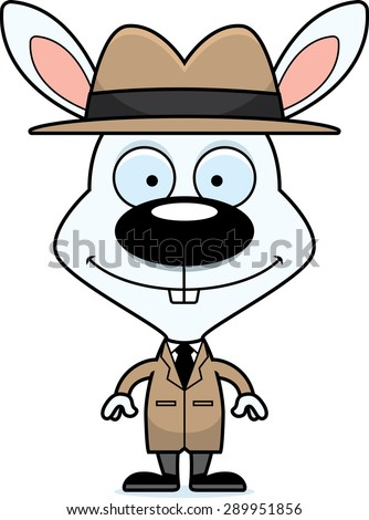 A cartoon detective bunny smiling. - stock vector