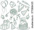 A cartoon doodle with a birthday theme. - stock vector