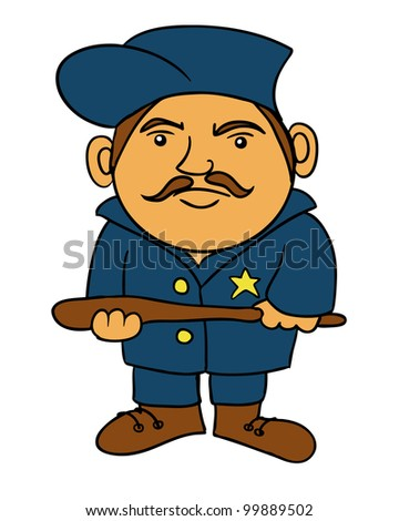 a cartoon drawing of a police man - stock vector
