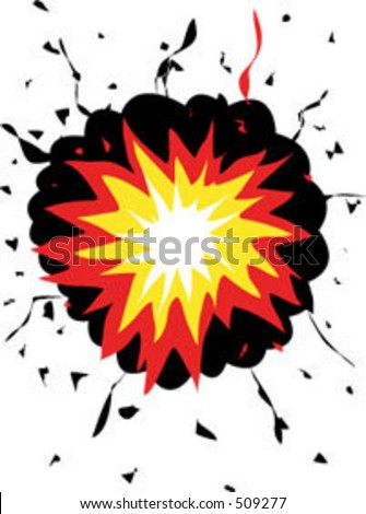 A cartoon explosion. Can be placed behind objects or used on its own.
