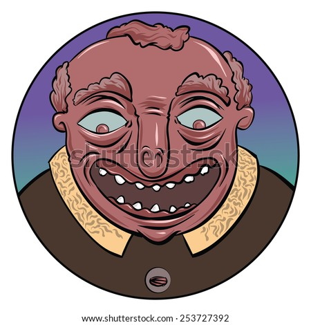 A cartoon face of a smiling guy in profile. - stock vector