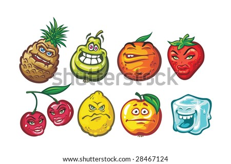 A cartoon funny fruits  in a variety of moods: cherry, pineapple, lemon, apple, orange, strawberry - stock vector