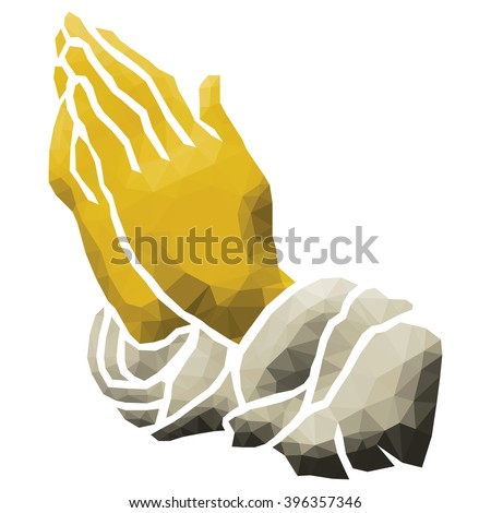 A cartoon hand clasps together for prayer, low poly vector illustration.