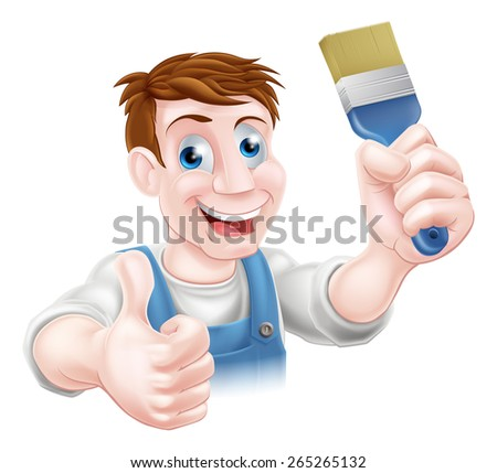 A cartoon handyman or decorator holding a paintbrush and doing a thumbs up - stock vector
