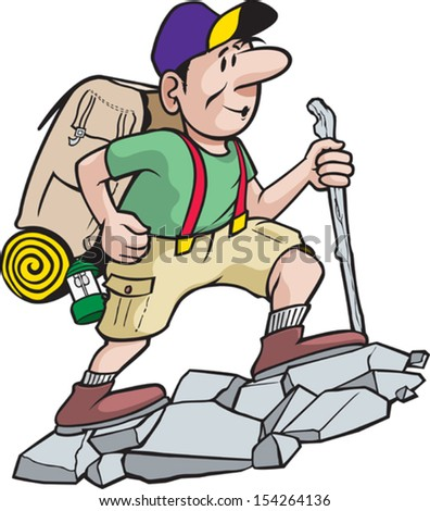 A cartoon hiker enjoying the great outdoors. Vector file. - stock vector
