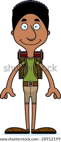 A cartoon hiker man smiling.