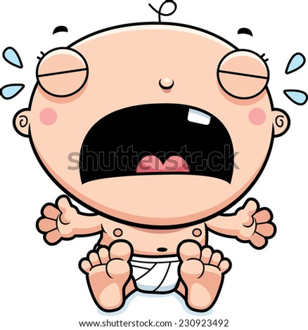 A cartoon illustration of a baby boy crying. - stock vector