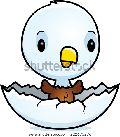 A cartoon illustration of a baby eagle hatching from an egg. - stock vector