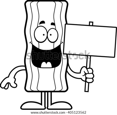 A cartoon illustration of a bacon strip holding a sign.