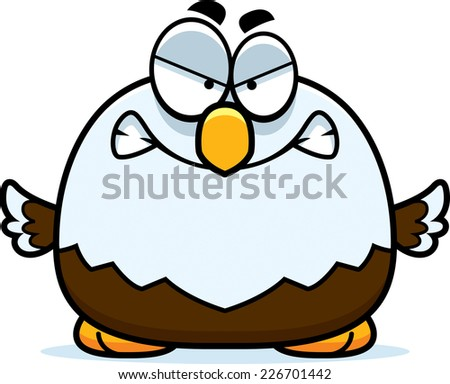 A cartoon illustration of a bald eagle looking angry. - stock vector