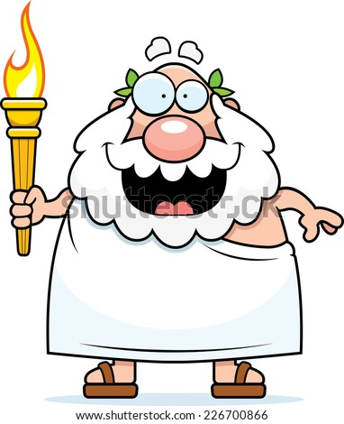 A cartoon illustration of a bearded Greek man holding the Olympic torch.