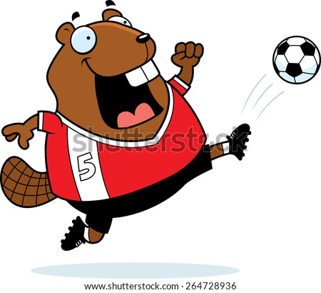 A cartoon illustration of a beaver kicking a soccer ball. - stock vector