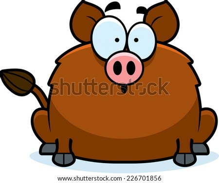 A cartoon illustration of a boar looking surprised. - stock vector